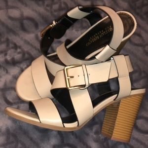 Gorgeous strappy nude heeled sandals.